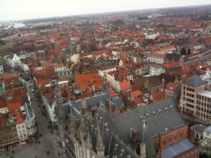 Bruges from floating in mid-air (or the top of that giant tower, whichever you prefer.)