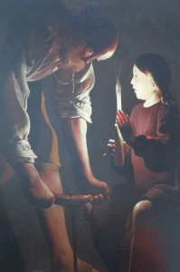 I can't remember the name of this artist but isn't the lighting effect cool? It's a painting of Joseph and Jesus.